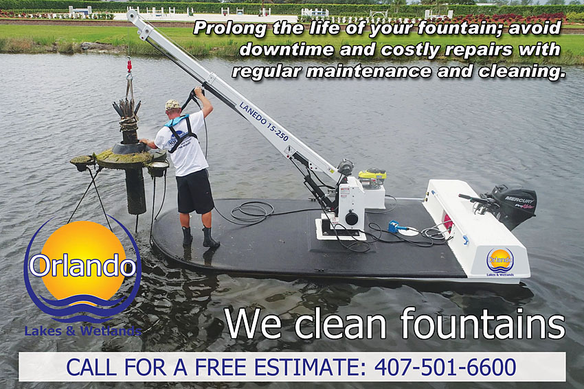Orlando Lakes and Wetlands cleans and maintains lake fountains
